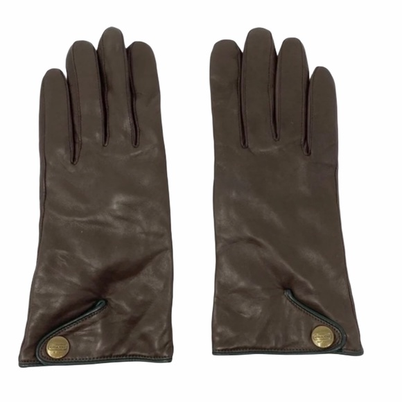 Coach Brown Leather Gloves EUC